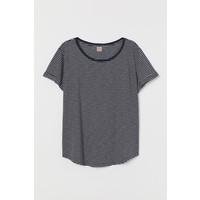 H&M H&M+ T-shirt z modalem 0659132017 Ciemnoniebieski/Paski
