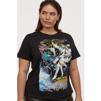 H&M H&M+ T-shirt z nadrukiem 0767485035 Czarny/Gwiezdne wojny