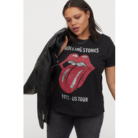 H&M H&M+ T-shirt z nadrukiem 0767485035 Czarny/Rolling Stones