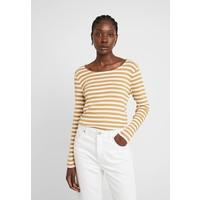 TOM TAILOR BASIC STRIPED Bluzka z długim rękawem offwhite/camel brown TO221D0Y6