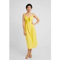 Warehouse TIE FRONT MIDI DRESS Sukienka koszulowa yellow WA221C0KK