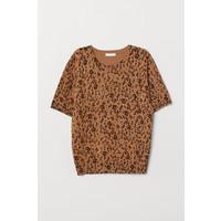 H&M Cienki sweter 0678942031 Jasnobrązowy/Panterka