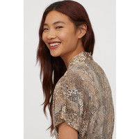 H&M Top z dekoltem w serek 0770315001 Beżowy/Wzór wężowej skóry