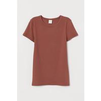H&M Bawełniany T-shirt w prążki 0800691002 Brązowy