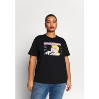 Even&Odd Curvy T-shirt z nadrukiem black/white/beige EVB21D01Z