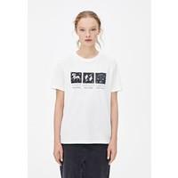 PULL&BEAR T-shirt z nadrukiem white PUC21D14Q