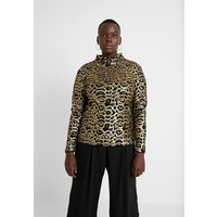 Simply Be HIGH NECK EMBOSSED LEOPARD Bluzka black/gold SIE21D028