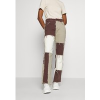 Jaded London PATCHWORK BOYFRIEND FIT WITH FRAYED SEAMS Jeansy Relaxed Fit brown JL021N00C