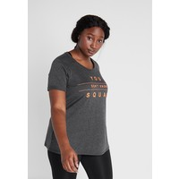 Active by Zizzi ALUCY T-shirt z nadrukiem dark grey melange/orange pop ACA41D01B