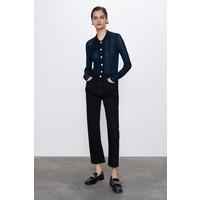 Zara SPODNIE JEANSOWE ZW PREMIUM ANKLE STRAIGHT Czarny 8246/044