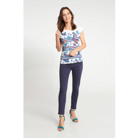 Quiosque Biała bluzka z niebiesko-turkusowym wzorem 1JS016151