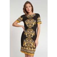 Quiosque Czarna prosta sukienka z żółtym wzorem 4JO004299