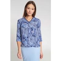 Quiosque Niebieska koszulowa bluzka z orientalnym motywem 2JL005801