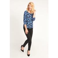Quiosque Niebieska bluzka w kwiaty z rękawem 3/4 1IL002812