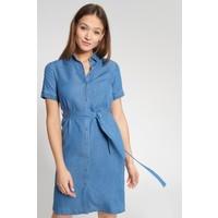 Quiosque Niebieska jeansowa sukienka z wiązanym paskiem 4JN006801