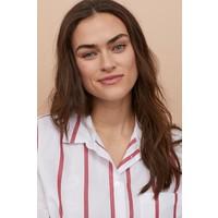 H&M Bawełniana koszula 0842607002 Biały/Czerwone paski