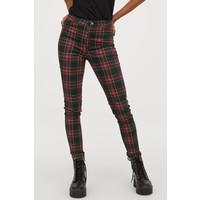 H&M Spodnie z diagonalu High Waist 0801384001 Czarny/Czerwona krata