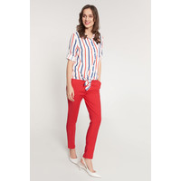 Quiosque Biała wiązana bluzka w czerwone i granatowe paski 2JH009120