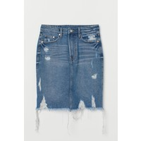 H&M Spódnica dżinsowa 0554640001 Niebieski denim/Trashed