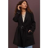 H&M H&M+ Płaszcz z paskiem 0844244001 Czarny