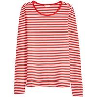 H&M Top z długim rękawem 0316441006 Czerwony/Paski
