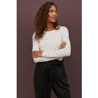 H&M Top z długim rękawem 0316441006 Biały/Czarne paski
