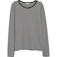 H&M Top z długim rękawem 0316441006 Czarny/Białe paski