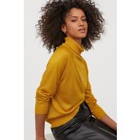H&M Cienki sweter z golfem 0821152001 Musztardowożółty