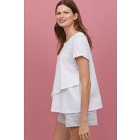 H&M MAMA Piżama dla karmiącej 0737610003 Biały