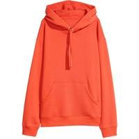 H&M Bluza z kapturem 0456163030 Pomarańczowy