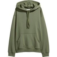 H&M Bluza z kapturem 0456163028 Zieleń khaki
