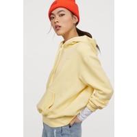 H&M Bluza z kapturem 0715624040 Jasnożółty/Love