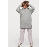 H&M Bluza oversize z kapturem 0866387010 Jasnoszary melanż