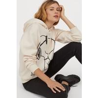 H&M Bluza z kapturem i motywem 0762471007 Kremowy/Snoopy