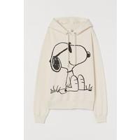 H&M Bluza z kapturem i motywem 0762471001 Kremowy/Snoopy
