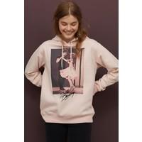 H&M Bluza z kapturem i motywem 0762471007 Jasnoróżowy/Dirty Dancing