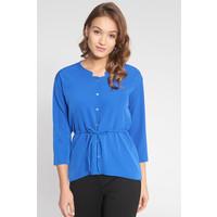 Quiosque Niebieska koszulowa bluzka ściągana w pasie 2IX020801