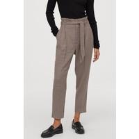 H&M Spodnie z talią paper bag 0753737016 Beżowy/Pepitka