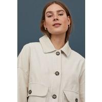 H&M Sztruksowa kurtka pudełkowa 0854004001 Jasnobeżowy
