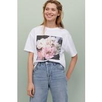 H&M Bawełniany T-shirt 0859190002 Biały