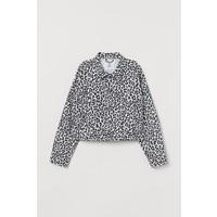 H&M Krótka kurtka dżinsowa 0707777003 Biały/Panterka