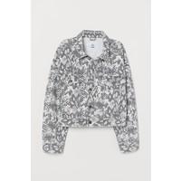 H&M Krótka kurtka dżinsowa 0707777003 Jasnoszary/Wzór wężowej skóry
