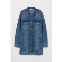 H&M Długa kurtka dżinsowa 0417088001 Niebieski denim