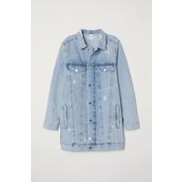 H&M Długa kurtka dżinsowa 0417088001 Jasnoniebieski denim/Trashed