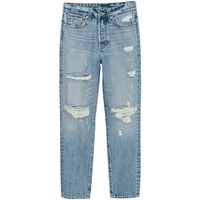 H&M Dżinsy Mom 0426013001 Niebieski denim/Trashed