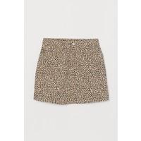 H&M Spódnica dżinsowa 0691855001 Beżowy/Panterka