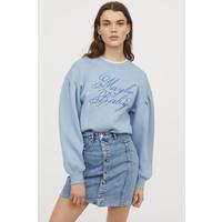 H&M Spódnica dżinsowa z guzikami 0821107001 Niebieski denim/Sprany
