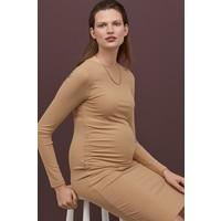 H&M MAMA Sukienka w prążki 0834051001 Beżowy