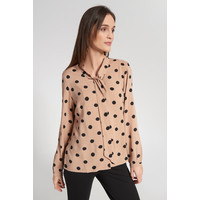 Quiosque Beżowa elegancka bluzka w groszki 2JB001153
