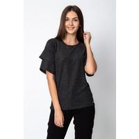 Quiosque Czarna błyszcząca bluzka z rozkloszowanymi rękawami 1GD001299